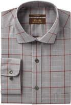 Tasso Elba Men's Regular Fit Non-Iron Blue Brown Bold Twill Glen Plaid Dress Shirt, Created for Macy's