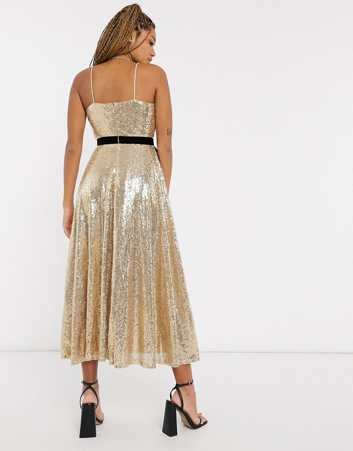 Thumbnail for your product : Forever U sequin cami skater midi dress with contrast bow in gold