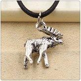 Nobrand No brand Fashion Tibetan Silver Pendant deer sika Necklace Choker Charm Black Leather Cord Handmade Jewlery