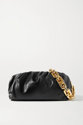 Bottega Veneta The Chain Pouch Gathered Leather Clutch - Black
