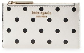 Kate Spade Small Spencer Cabana Dot Slim Bi-Fold Wallet