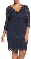 Marina Sequin Lace V-Neck Sheath Dress (Plus Size)