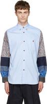 Junya Watanabe Blue Jacquard Multi Fabric Shirt