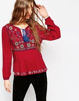 Asos Long Sleeve Blouse With Embroidery Detail