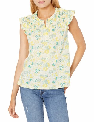 Lucky Brand Women's Sleeveless Button Up Smocked Printed Top