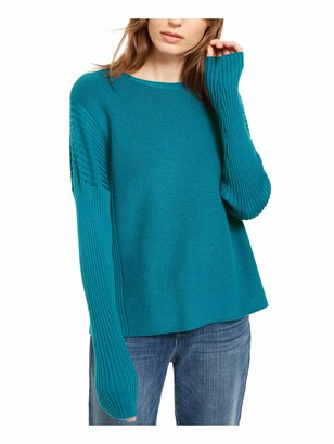 Eileen Fisher Womens Aqua Ribbed Long Sleeve Jewel Neck Sweater UK Size:4