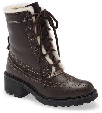 Chloé Franne Genuine Shearling Lining Lace-Up Boot
