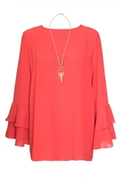 Quiz Orange Frill Sleeve Necklace Top