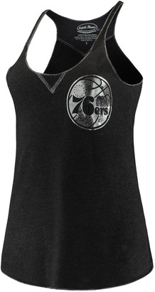 Majestic Women's Threads Black Philadelphia 76ers French Terry Deconstructed Racerback Tri-Blend Tank Top