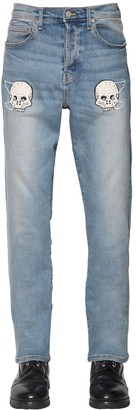 Lost Daze Ca Embroidered Loose Skinny Denim Jeans