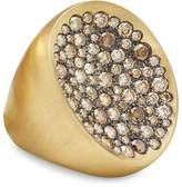 Antonini 18K Yellow Gold Extra Large Matte Matera Pave Cognac Diamond Ring