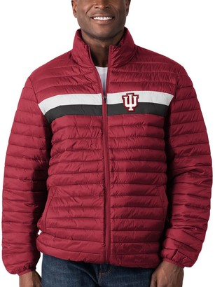 G Iii Men's G-III Sports by Carl Banks Crimson Indiana Hoosiers Yard Line Quilted Full-Zip Jacket