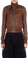 Rick Owens Men's Grained Leather Jacket-BROWN