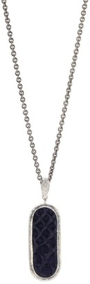 John Varvatos Exotic Silver & Leathers Sterling Silver & Blue Leather Dog Tag Necklace