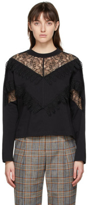 See by Chloe Black Embellished Long Sleeve T-Shirt