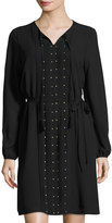 Neiman Marcus Long-Sleeve Embellished Chiffon Dress, Onyx