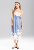 Josie Natori Cotton Voile With Lace Gown