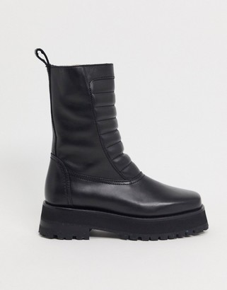 And other stories & leather chunky flat boots with padded panel in black