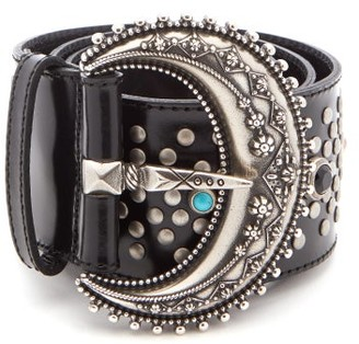 Etro Western-buckle Studded Leather Belt - Womens - Black
