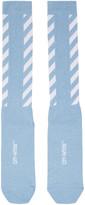 Off-White Blue Diagonal Shiny Socks
