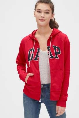 Gap Womens Red Logo Zip Through Hoody - Red