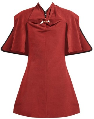 Ellery Holly Of Hollies Caped Cotton-blend Dress - Burgundy