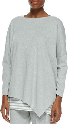 Joan Vass Petite Oversized Asymmetric Cotton Top