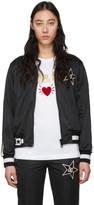 Dolce & Gabbana Black Side Star Zip Up Jacket