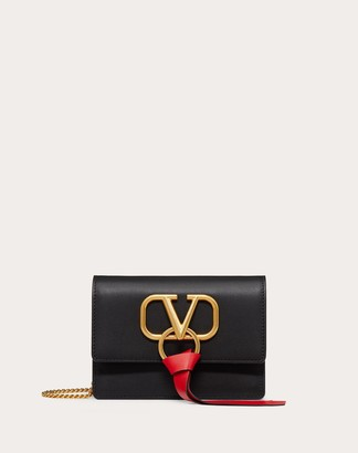 Valentino Vring Calfskin Pouch With Chain Strap Women Black Calfskin 100% OneSize