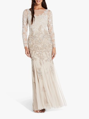 Adrianna Papell Multi Beaded Floral Maxi Gown, Biscotti