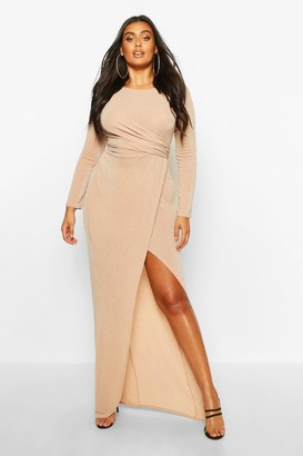 boohoo Plus Glitter Twist Split Maxi Dress