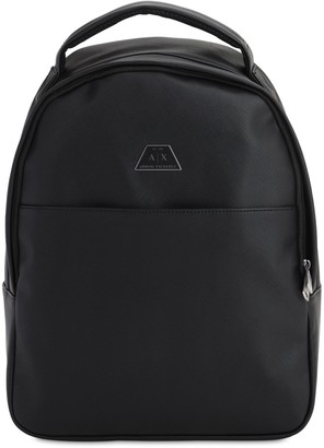 Armani Exchange Faux Saffiano Leather Backpack