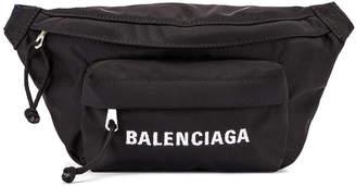 Balenciaga S Wheel Logo Belt Bag in Black & Navy Blue | FWRD