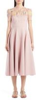 Valentino Embellished Illusion Yoke Wool & Silk Midi Dress