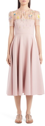 Valentino Embellished Illusion Yoke Wool & Silk Midi Dress