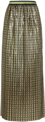 Palones Printed metallic plisse skirt