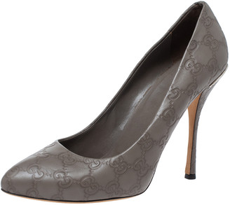 Gucci Grey Guccissima Leather Pointed Toe Pumps Size 39.5