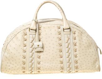 Bottega Veneta Beige/Cream Ostrich Leather Travel Bag