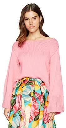 Milly Women's Italian Cropped Flare Sleeve Sweater