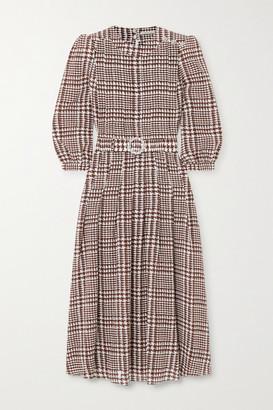 Alessandra Rich Belted Crystal-embellished Houndstooth Silk Midi Dress - Brown