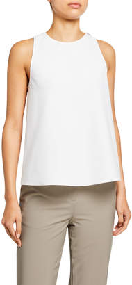 Tibi Structured Crepe Tank with Twist-Back Detail