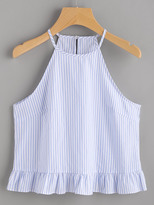 Shein Buttoned Keyhole Back Frill Striped Halter Top