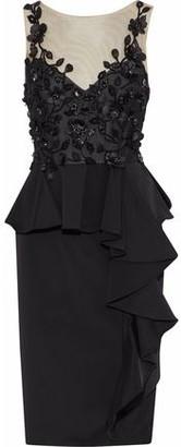 Marchesa Embellished Tulle-paneled Ruffled Satin-crepe Dress