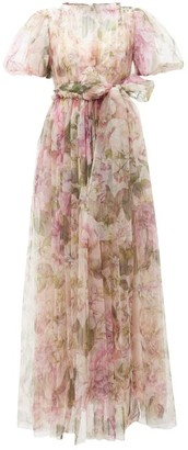 Dolce & Gabbana Peony-print Fuff-sleeve Tulle Gown - Womens - Pink Print