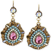 Betsey Johnson Gold-Tone Multi-Color Crystal Teardrop Earrings