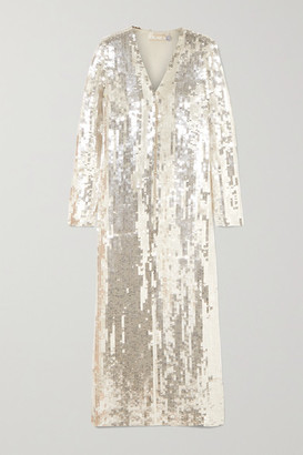Temperley London Sequined Tulle Robe - Silver