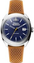 Vivienne Westwood Men's Quartz Analogue Display Watch with Blue Dial and Brown Leather Strap VV136BLBR