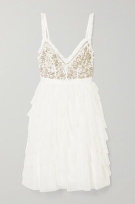 Needle & Thread Leilah Ruffled Embellished Tulle Mini Dress