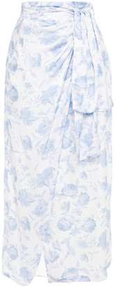 Mother of Pearl Annabelle Wrap-effect Floral-print Hammered-satin Midi Skirt