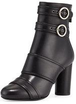 Lanvin Leather Buckle High-Heel Bootie, Black